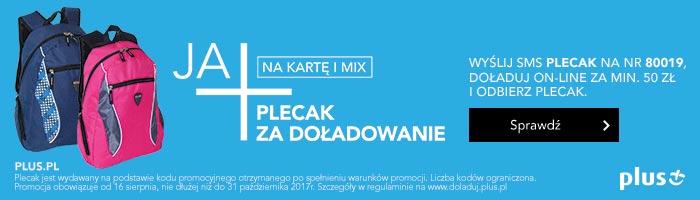 """Promocja Plus """"Plecak za doładowanie"""" od 16.08.2017 r."""